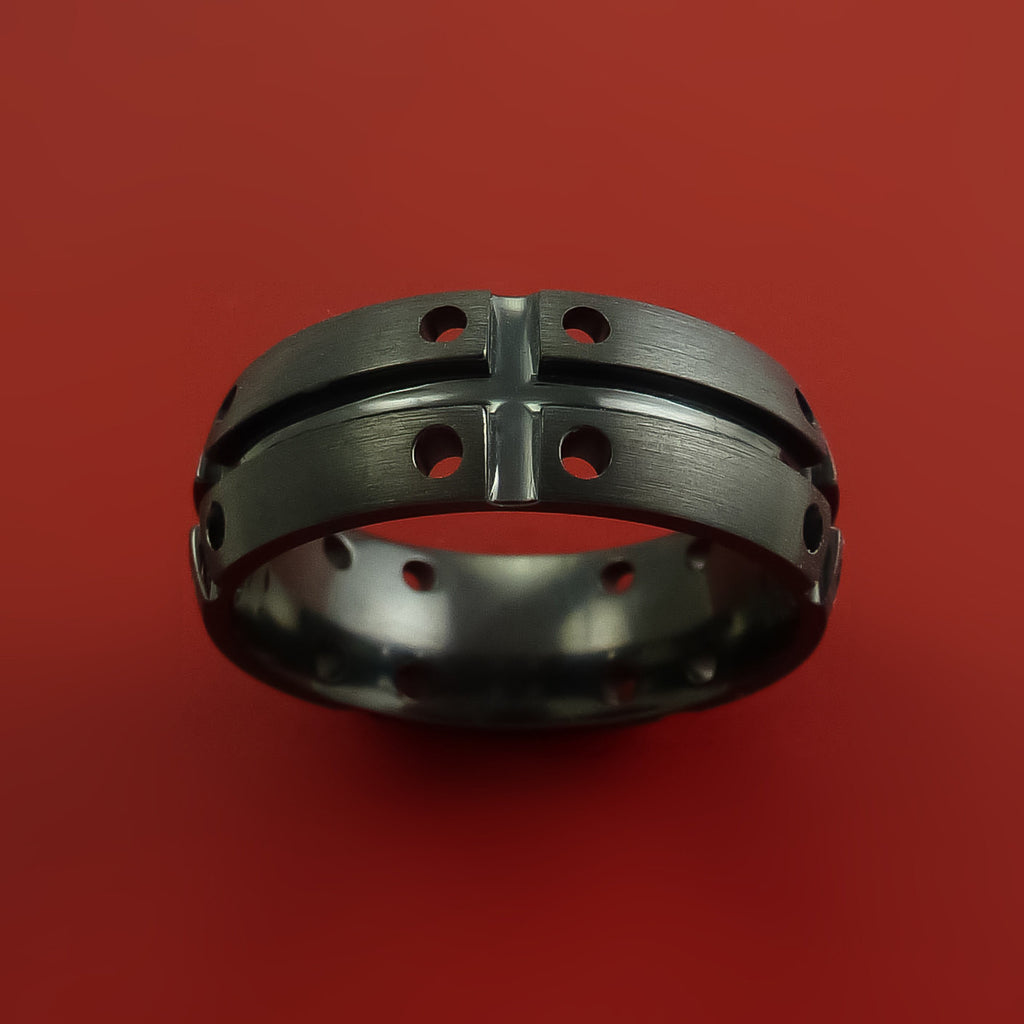 Black Zirconium Unique Wide Wedding Band Modern Industrial Ring Style by Stonebrook Jewelry