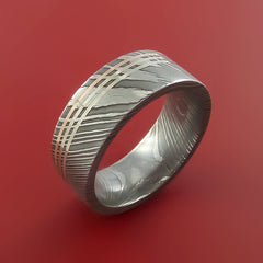 Damascus Steel 14K Rose and 14k White gold Gold Ring Wedding Band Custom Made by Stonebrook Jewelry