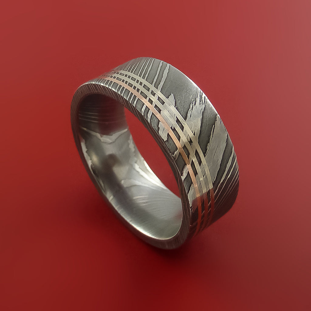 Damascus Steel 14K Rose and 14k White gold Gold Ring Wedding Band Custom Made - Stonebrook Jewelry  - 1