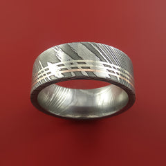 Damascus Steel 14K Rose and 14k White gold Gold Ring Wedding Band Custom Made - Stonebrook Jewelry  - 2