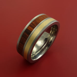 Titanium Ring with Hardwood and 14k Yellow Gold Inlays Custom Made Band