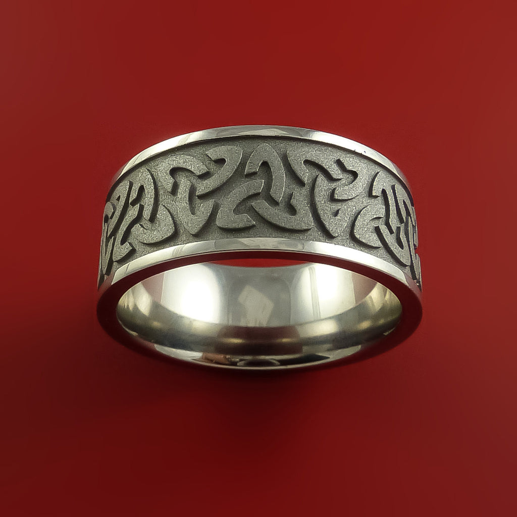 Titanium Celtic Band Trinity Symbolic Wedding Infinity Ring Custom Made by Stonebrook Jewelry