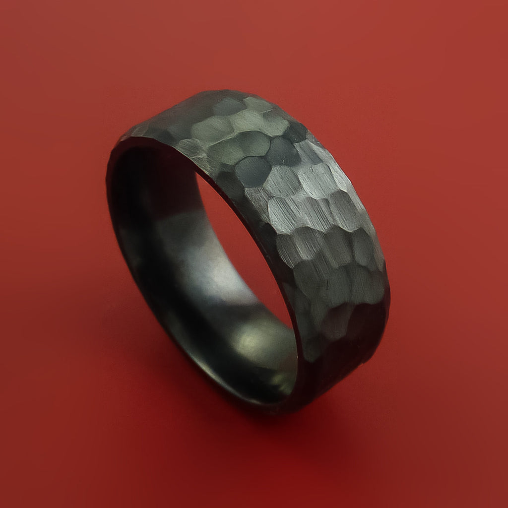 Black Zirconium Ring Hammer Finish Custom made Band to any Sizing by Stonebrook Jewelry
