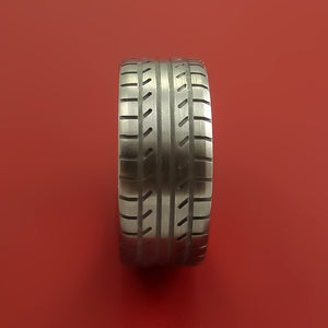 Wide Titanium Ring with Custom Tire Tread Pattern Inlay Custom Made Band