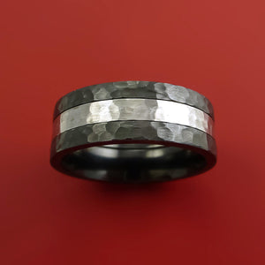 Hammered Black Zirconium Ring with Cobalt Chrome Inlay Custom Made Band