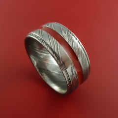 Damascus Steel Ring with Center Red Inlay Wedding Band Genuine Craftsmanship by Stonebrook Jewelry