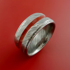 Damascus Steel Ring with Center Red Inlay Wedding Band Genuine Craftsmanship - Stonebrook Jewelry  - 2