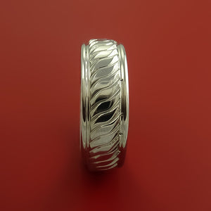 Cobalt Chrome Ring with Coil Twist Milled Design Inlay Custom Made Band