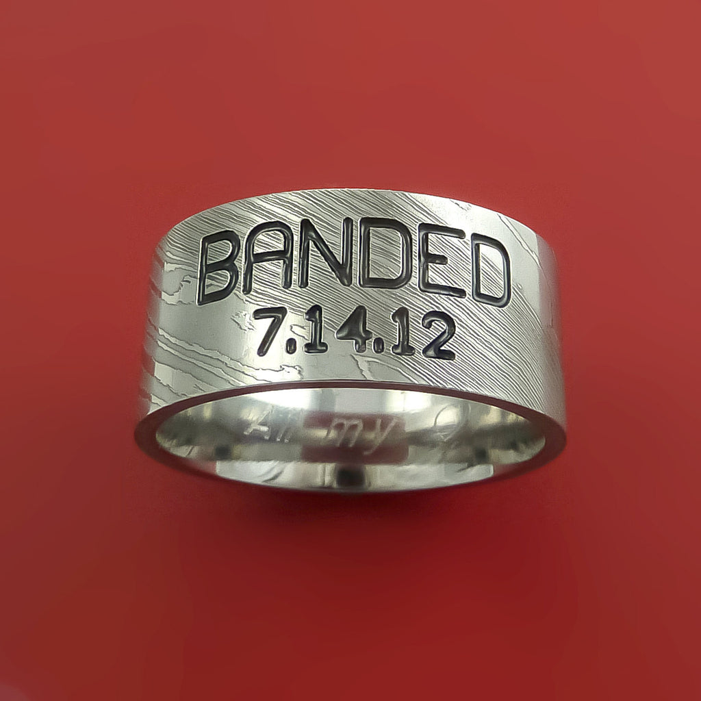 Damascus Steel Duck Band Ring Personal Message Wedding Band  Stonebrook  Jewelry  2