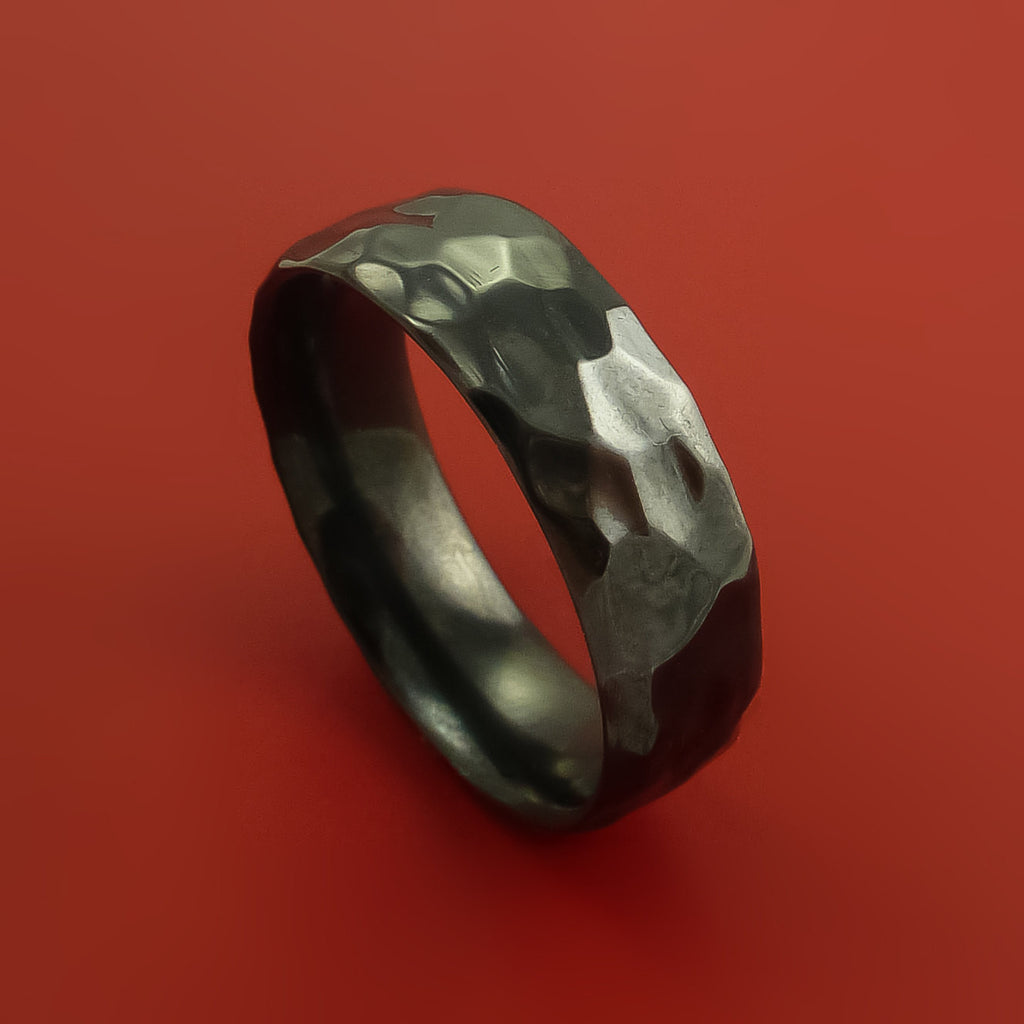 Black Zirconium Ring Style Rock Hammer Finish Band Fashion Ring Made to Any Sizing by Stonebrook Jewelry