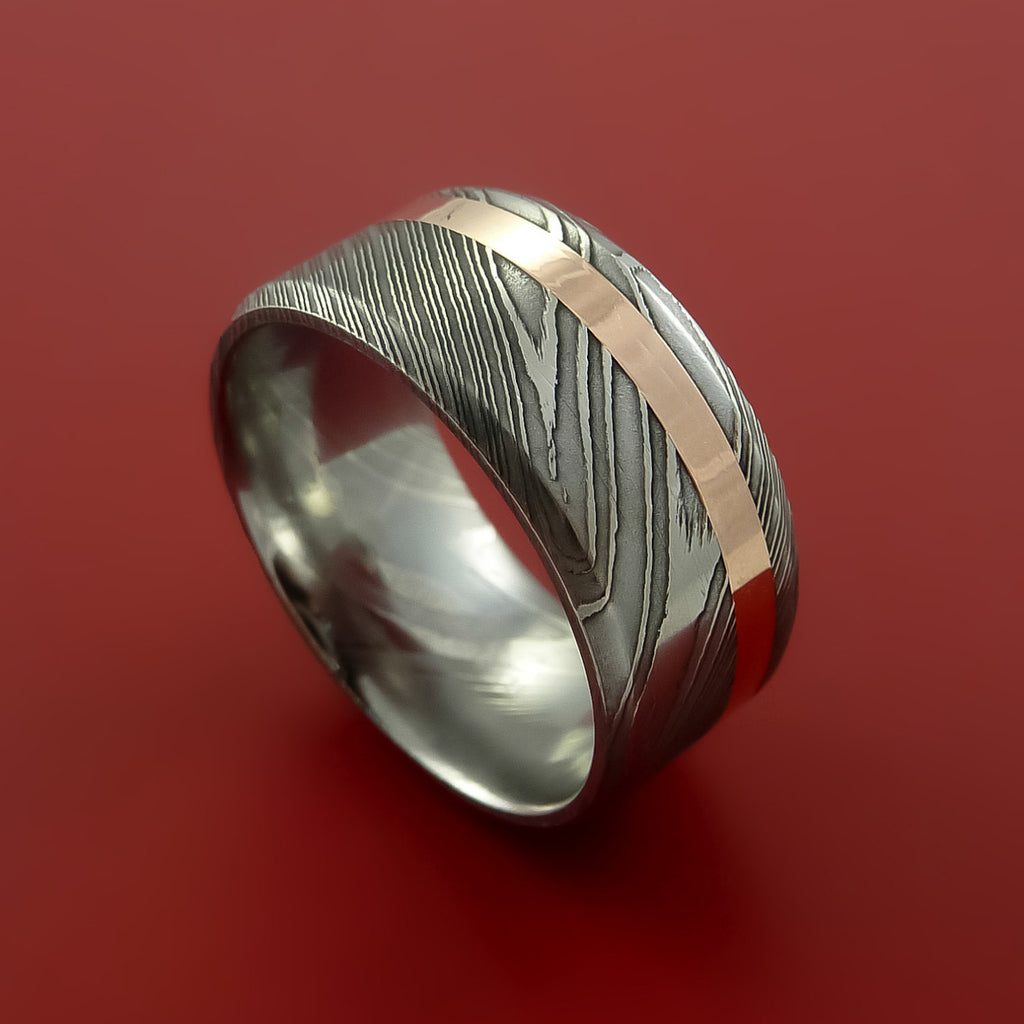 Damascus Steel Wide 14k Rose Gold Ring Wedding Band Custom