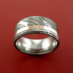 Damascus Steel Wide 14K Rose Gold Ring Wedding Band Custom Made by Stonebrook Jewelry