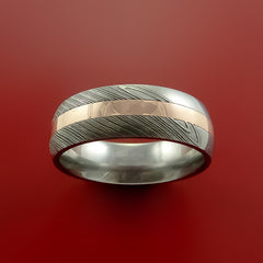 Damascus Steel 14K Rose Gold Ring Wedding Band Custom Made - Stonebrook Jewelry  - 2