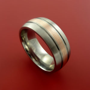 Titanium Ring with 14k Rose Gold and Groove Inlays Custom Made Band