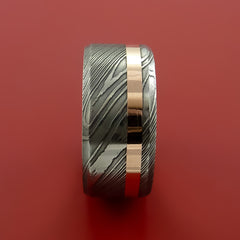 Damascus Steel Wide 14K Rose Gold Ring Wedding Band Custom Made - Stonebrook Jewelry  - 3