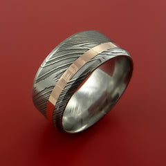 Damascus Steel Wide 14K Rose Gold Ring Wedding Band Custom Made - Stonebrook Jewelry  - 4