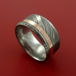 Wide Damascus Steel Ring with  Inlay Custom Made Band
