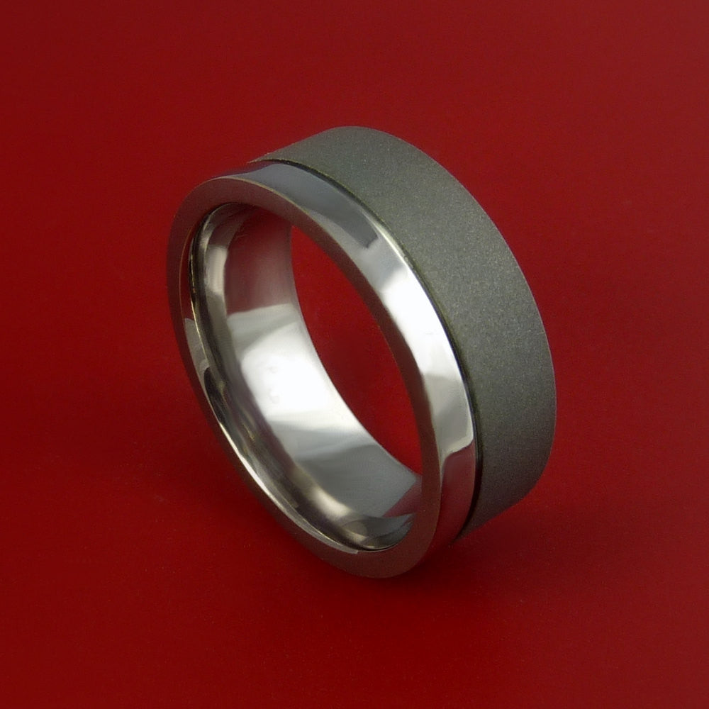 Titanium Wedding Band Engagement Ring Made to Any Sizing and Finish 3-22 by Stonebrook Jewelry