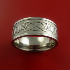 Titanium Celtic Irish Claddagh Ring Hands Clasping a Heart Band Carved Any Size - Stonebrook Jewelry  - 4