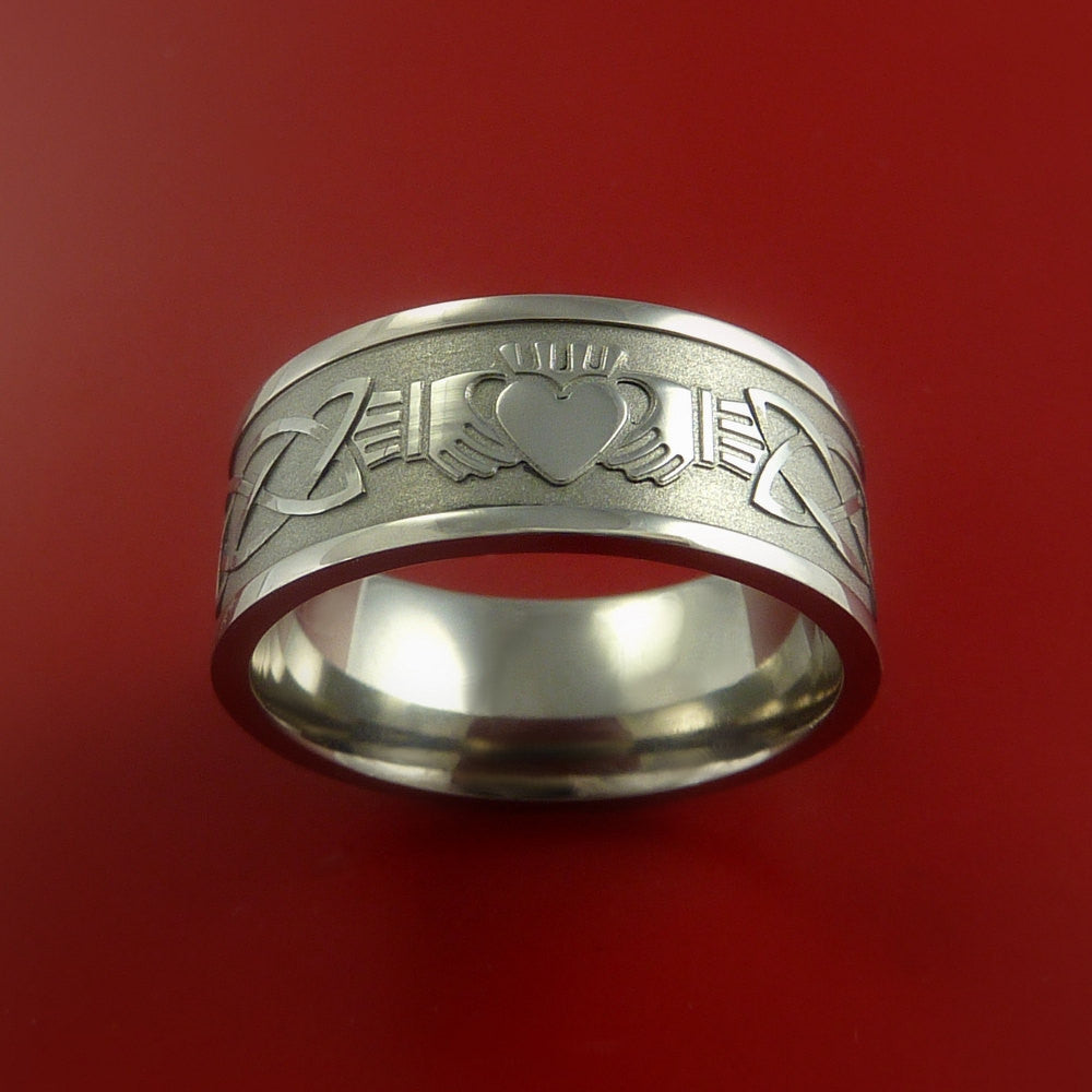 Titanium Celtic Irish Claddagh Ring Hands Clasping a Heart Band Carved Any Size - Stonebrook Jewelry  - 2