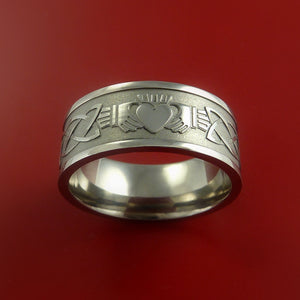 Titanium Ring with Claddagh Milled Celtic Design Inlay Custom Made Band