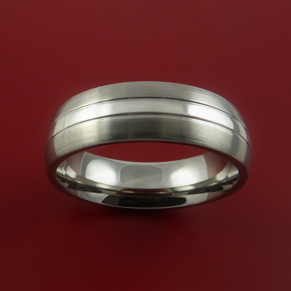 Platinum and Titanium Wedding Ring Custom Made Band Any Finish and Sizing from 3-22 by Stonebrook Jewelry