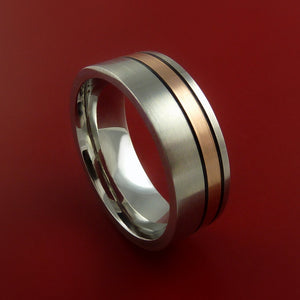 Cobalt Chrome and 14K Rose Gold Wedding Band Engagement Ring Made to Any Sizing and Finish 3-22