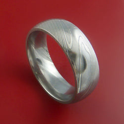 Stainless Steel Matte Finished Basket Weave Flat Band Ring