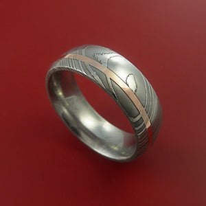 Damascus Steel Ring with 14k Rose Gold Inlay Custom Made Band