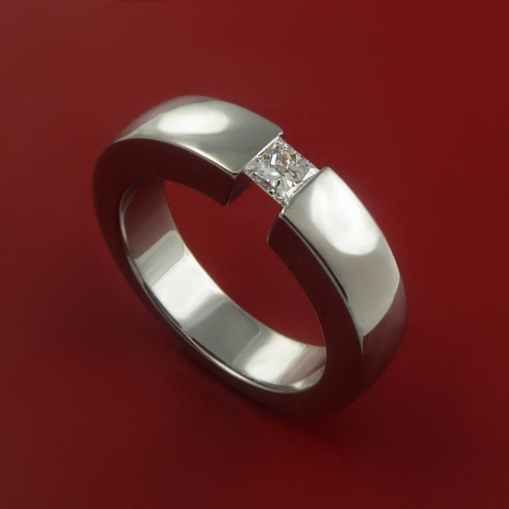 Titanium Ring Tension Setting Band Made to any size with Moissanite by Stonebrook Jewelry