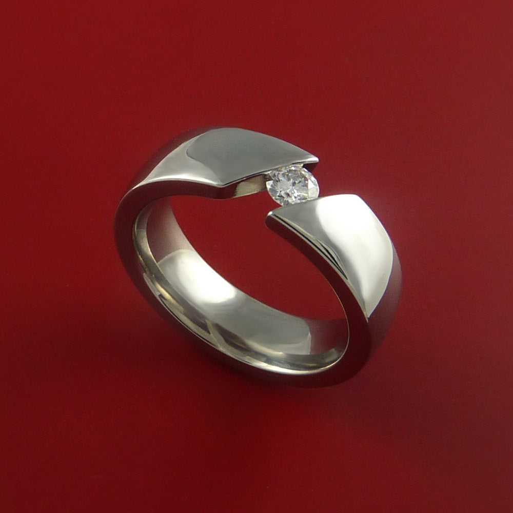 Titanium Ring Tension Setting Band Made to any size with Diamond