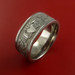 Titanium Celtic Irish Claddagh Ring Hands Clasping a Heart Band Carved Any Size - Stonebrook Jewelry  - 5