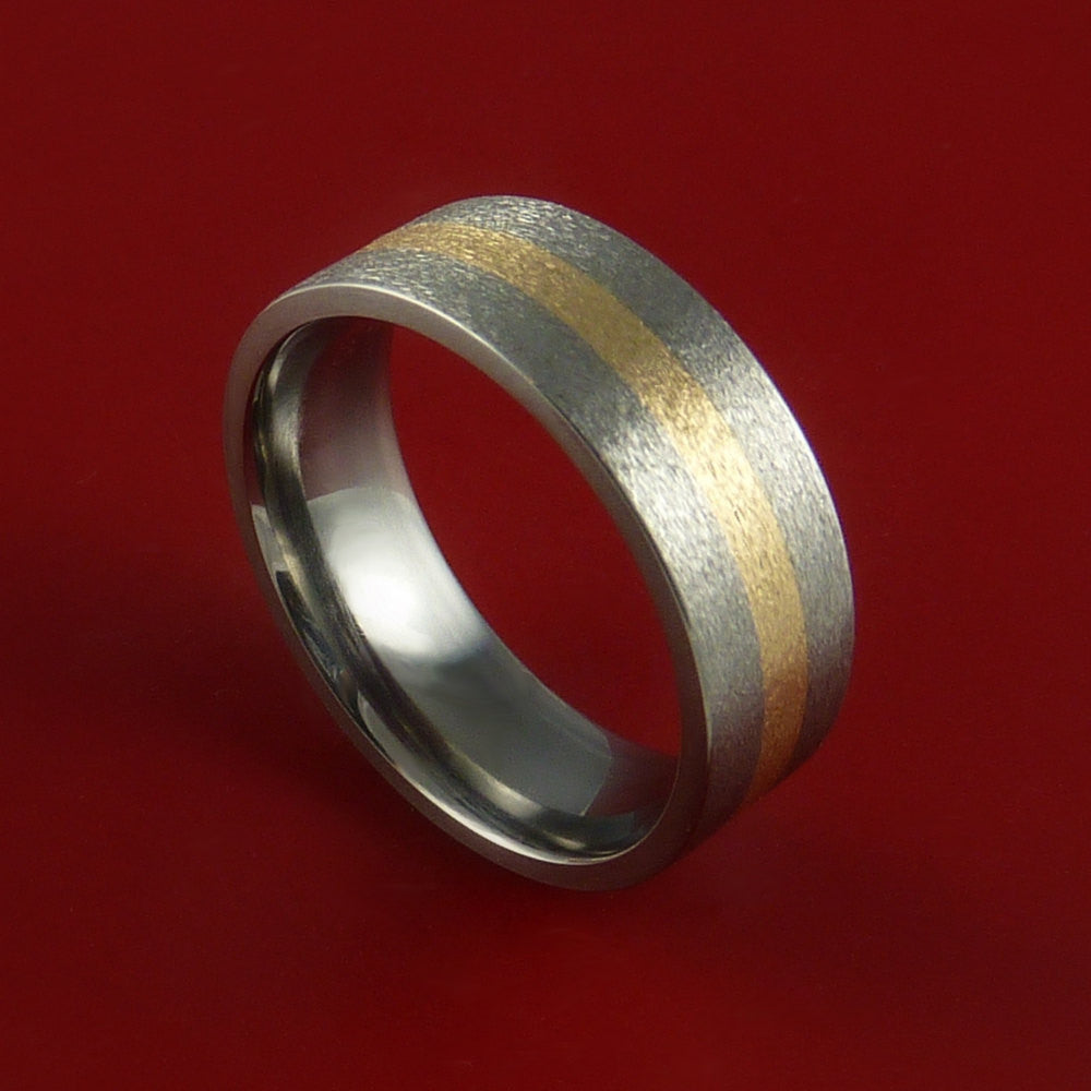 14K Yellow Gold and Titanium Custom Made Band Any Finish and Sizing from 3-22 by Stonebrook Jewelry