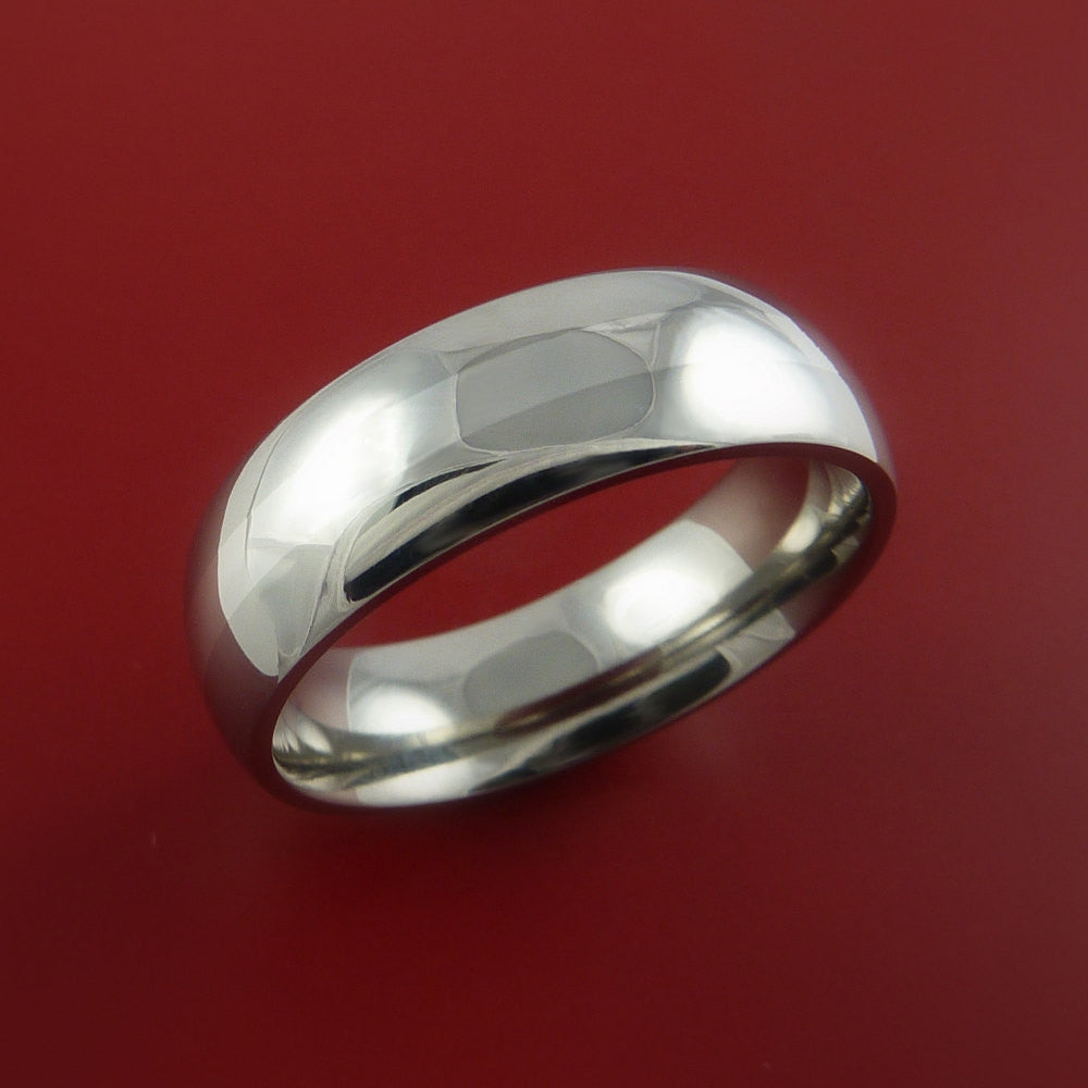 14K White Gold and Titanium Ring Custom Made Band Any Finish and Sizing from 3-22 by Stonebrook Jewelry