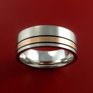 Cobalt Chrome Ring with 14k Rose Gold and Black Antiqued Groove Inlays Custom Made Band