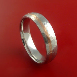 Hammered Cobalt Chrome Ring with 14k Rose Gold Inlay Custom Made Band