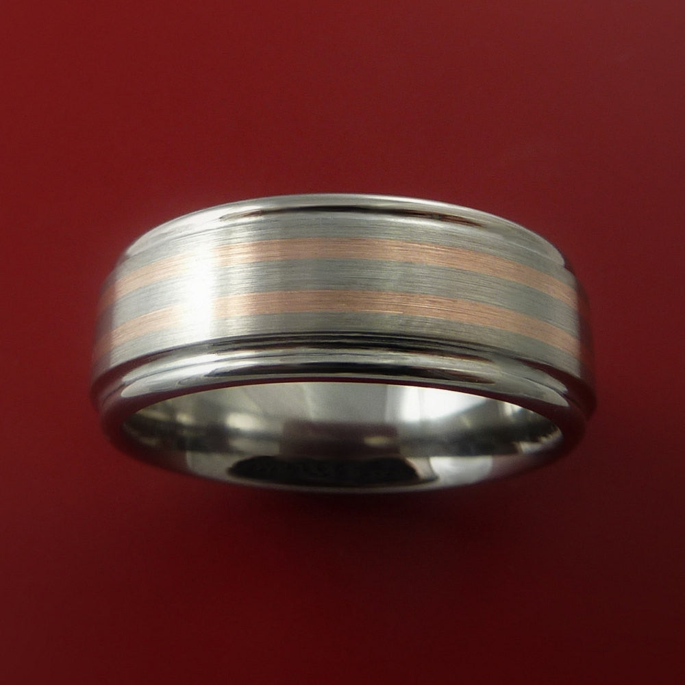 Rose Gold Ring and Titanium Custom Made Band Any Finish and Sizing from 3-22 - Stonebrook Jewelry  - 3