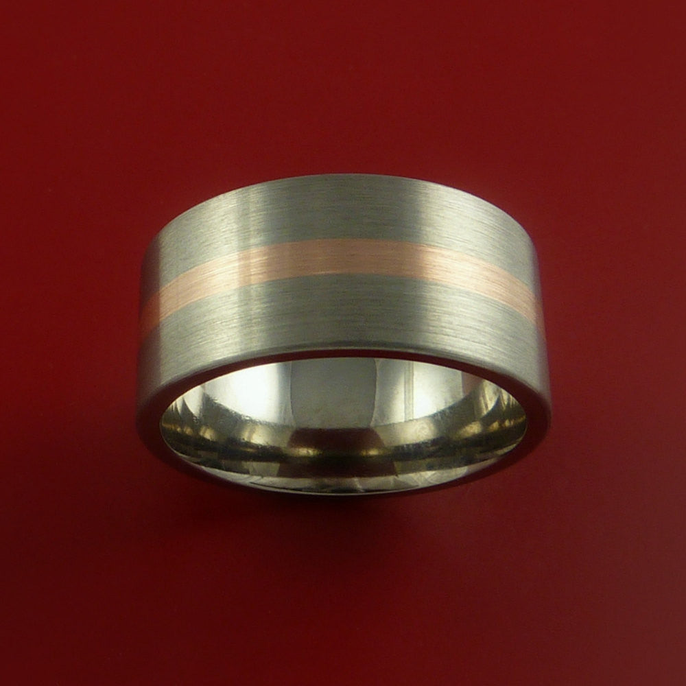 Rose Gold and Titanium Ring Custom Made Band Any Finish and Sizing from 3-22 by Stonebrook Jewelry
