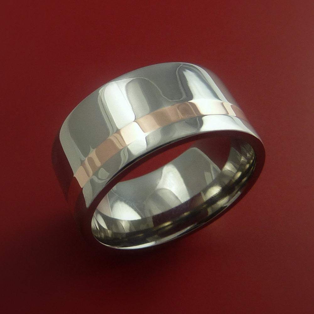 Rose Gold and Titanium Ring Wide Band Any Finish and Sizing from 3-22 - Stonebrook Jewelry  - 2