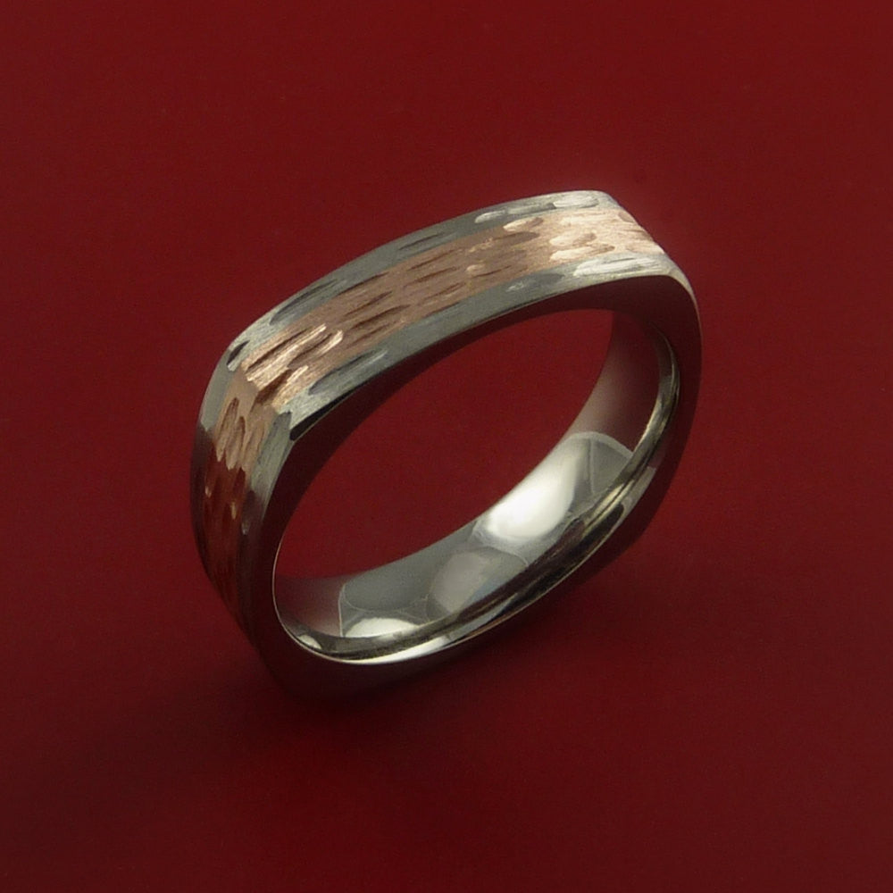 14k Rose Gold and Titanium Ring Square Band any Sizing from 3-22 Unique by Stonebrook Jewelry