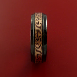 Black Zirconium Band and 14K ROSE Gold Mokume Shakudo Ring Custom Made to Any Size 3 to 22