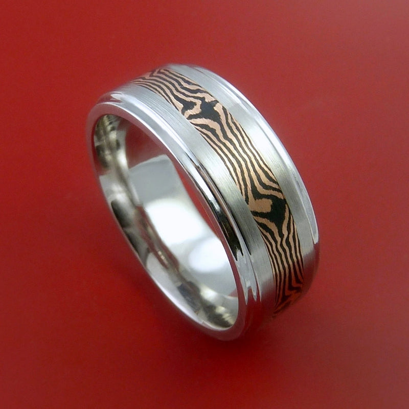 Titanium and 14K ROSE Mokume GOLD Ring Custom Made to Any Size 3 to 22