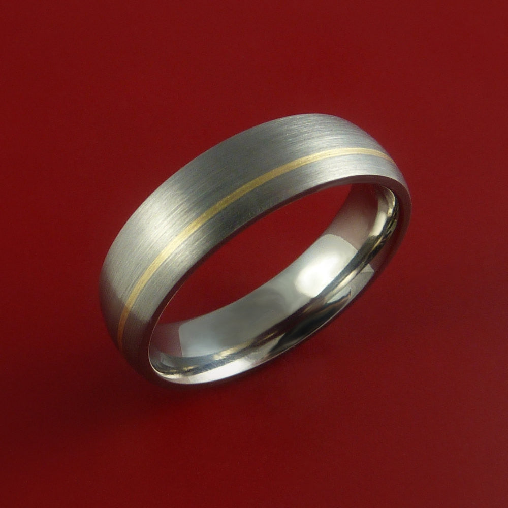 14K Yellow Gold and Titanium Ring Custom made Band Any Finish and Sizing from 3-22 by Stonebrook Jewelry