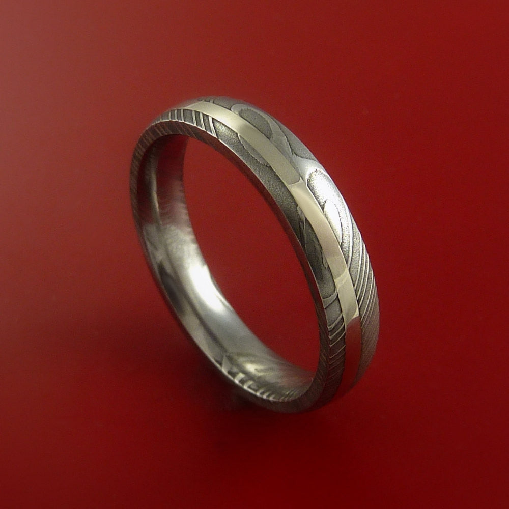 Damascus Steel 14K White Gold Ring Hand Crafted Wedding Band Custom Made by Stonebrook Jewelry