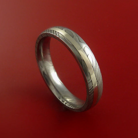 Damascus Steel 14K White Gold Ring Hand Crafted Wedding Band Custom Made