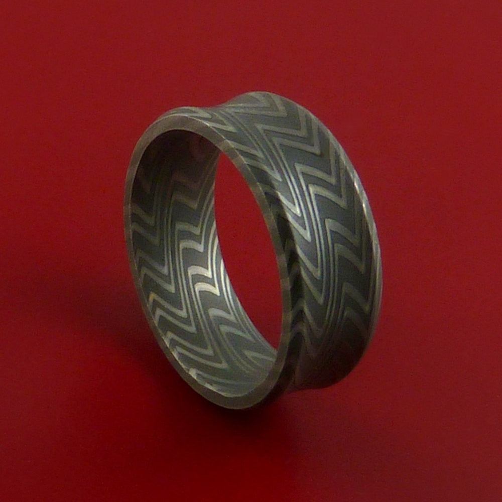 Damascus Steel Ring Pattern Wedding Band Zebra Look by Stonebrook Jewelry