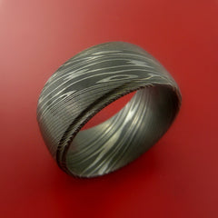 Wide Damascus Steel Ring Wedding Band Genuine Craftsmanship Made Custom - Stonebrook Jewelry  - 4