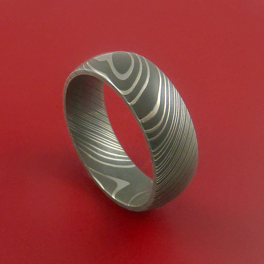 Damascus Steel Ring Acid Finish Genuine Craftsmanship Band by Stonebrook Jewelry