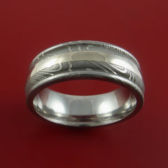 Damascus Steel 14K White Gold Ring Custom Made Wedding Band by Stonebrook Jewelry