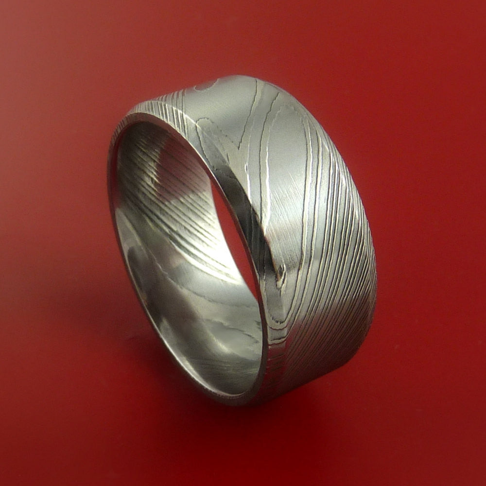 Damascus Steel Ring Wide Wedding Band Genuine Craftsmanship - Stonebrook Jewelry  - 1
